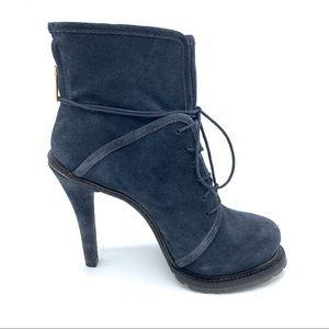 Elizabeth and James Blue Suede Heel Boot size 8